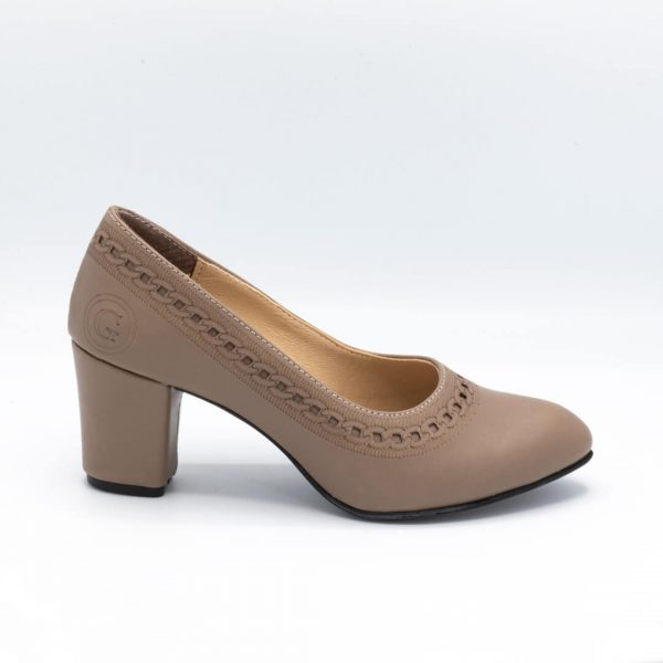 کفش مجلسی زنانه رنگ کرم پاشنه بلند کد 2m115v2