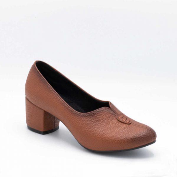 کفش مجلسی زنانه عسلی پاشنهدار