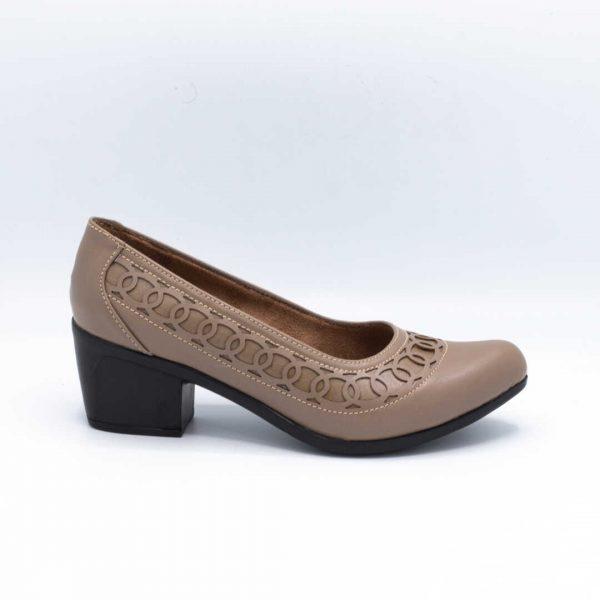 کفش اداری زنانه کرمی پاشنهدار